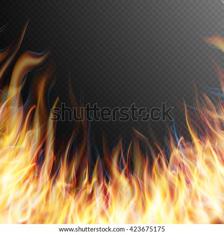 Burning fire flame on transparent background. Special effects. Translucent elements. Transparency grid. EPS 10 vector file included - stock vector