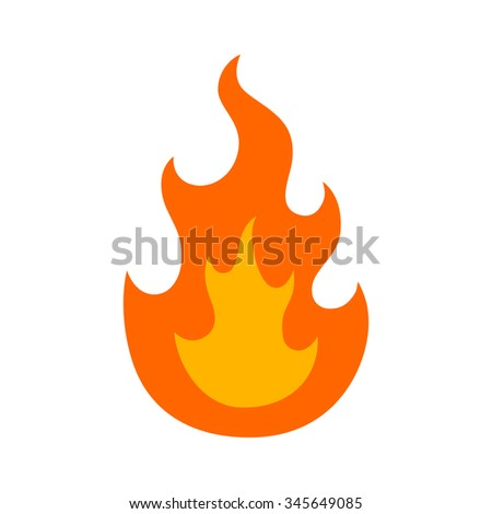 Burning fire / flame or hot flame / fire flat icon for apps and websites - stock vector
