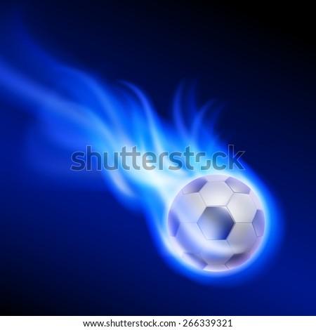 Burning football on blue fire. EPS10 vector. - stock vector