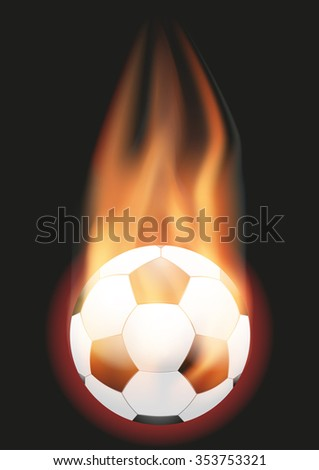 Burning Football Soccer ball with a tail of flame. Vector illustration Isolated on background.  - stock vector