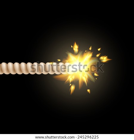 burning fuse isolated on a black background - stock vector