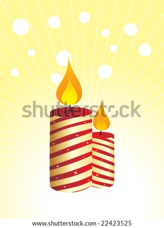 burning golden candles on yellow dotted background