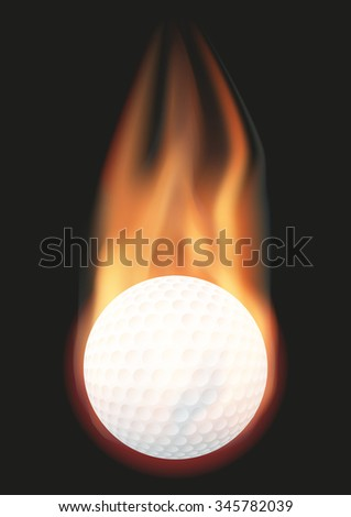 Burning golf ball with a tail of flame. Vector illustration Isolated on background.