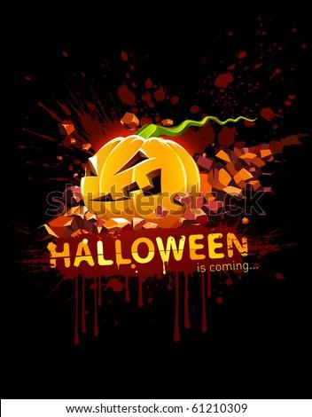 burning halloween pumpkin falling in stone - stock vector