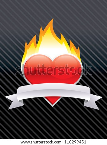 Burning Heart - stock vector