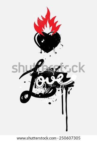 Burning Heart - stock vector