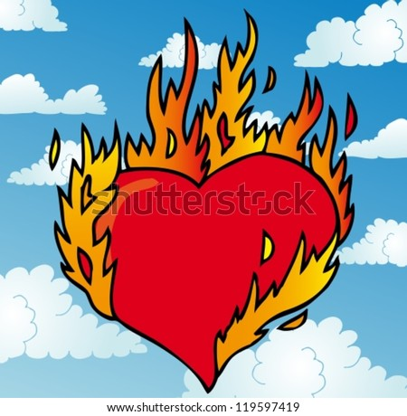Burning heart on sky - vector illustration. - stock vector
