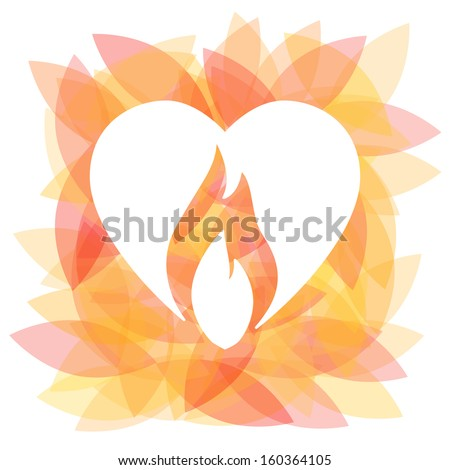 Burning heart with cut out fire vector concept icon. Colorful background.  - stock vector