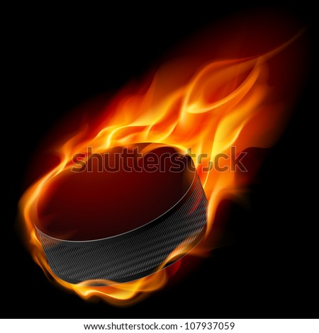 Burning hockey puck. Illustration for design on black background - stock vector