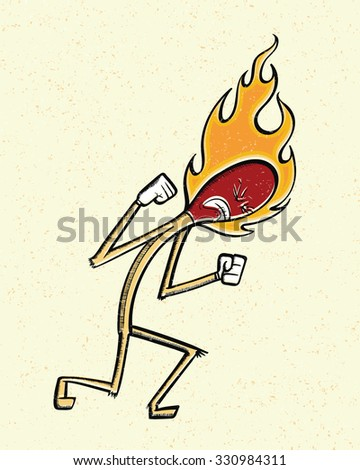 Burning Mad Match. Vector cartoon of an angry match stick on fire.