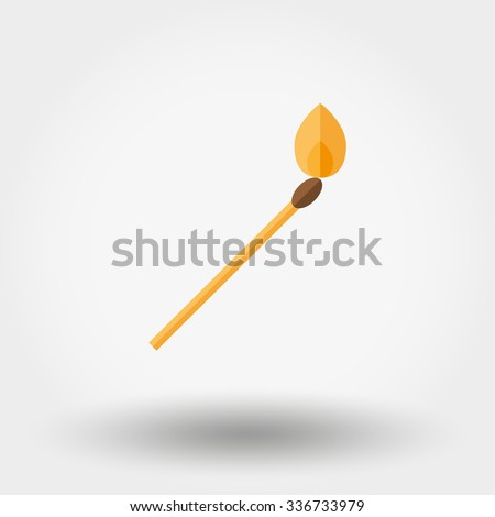Burning match. Icon for web and mobile application. Vector illustration on a white background.  Flat design style.