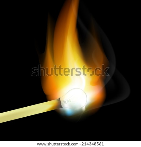 burning match in the form of light bulbs - stock vector