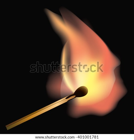 Burning match on a black background close up