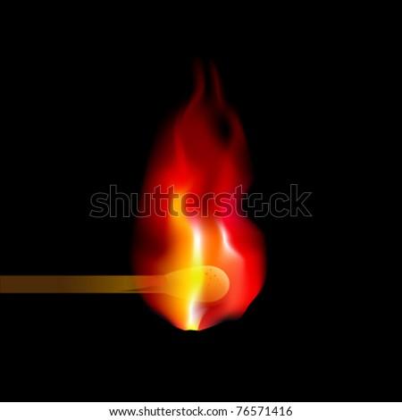 Burning match on black background - stock vector