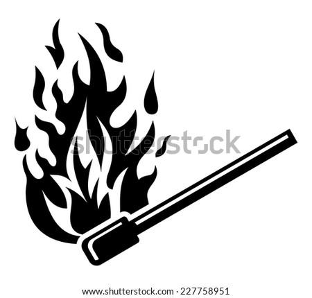 Burning match stick - fire sign - stock vector