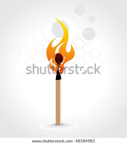 Burning match stick on a white retro circle background, vector illustration - stock vector