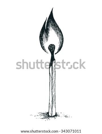 burning Match, vector illustration - stock vector