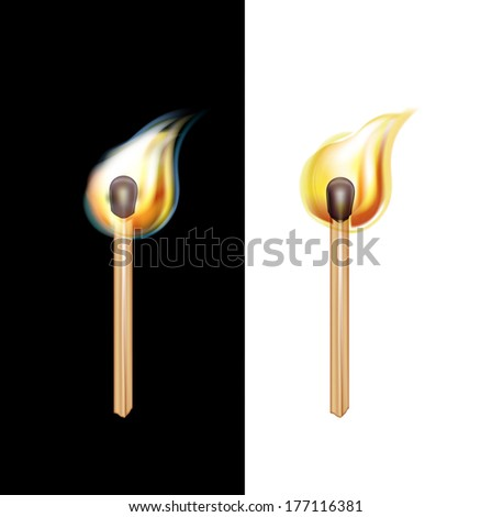 burning matches isolated on black and white background - stock vector