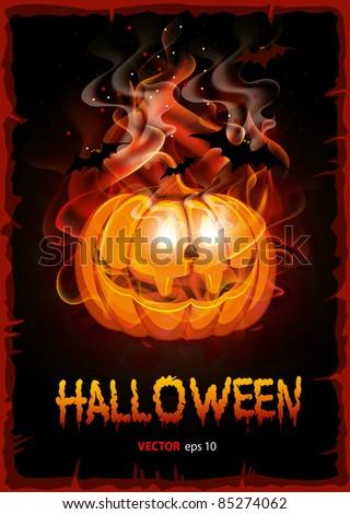 Burning pumpkin. Halloween background, vector. - stock vector