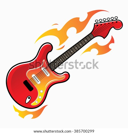 Burning red electric guitar - musical instrument - stock vector