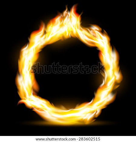 Burning ring. Texture fire isolated on a black background. Stock Vector.