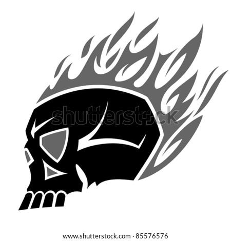 burning scull tattoo - stock vector
