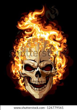 Burning skull on black background. Tattoo style. - stock vector