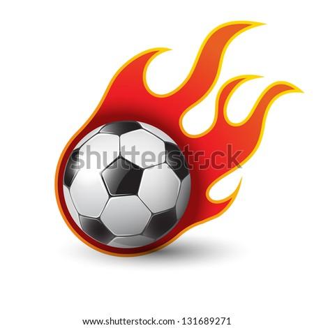 burning soccer ball on white eps10 illustration - stock vector
