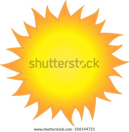 Burning sun like a flame isolated on white background - stock vector