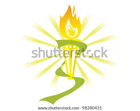 Burning torch - stock vector