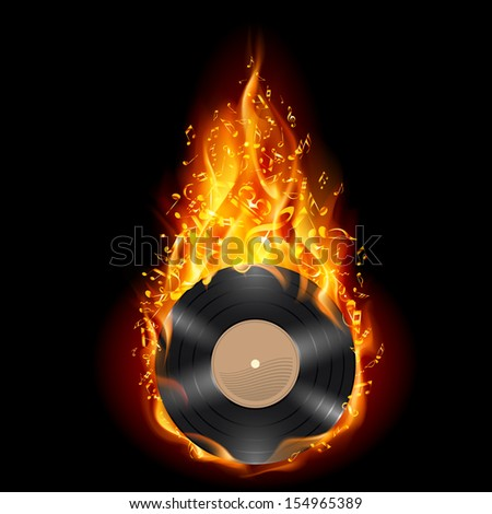 Burning vinyl record with fiery notes. Bright illustration on black background.