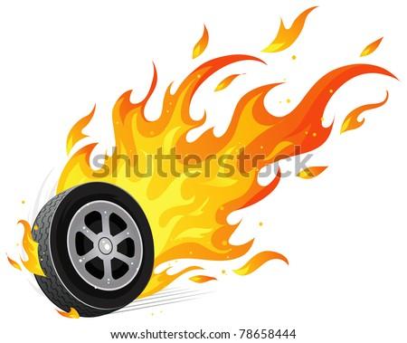 Burning wheel - stock vector