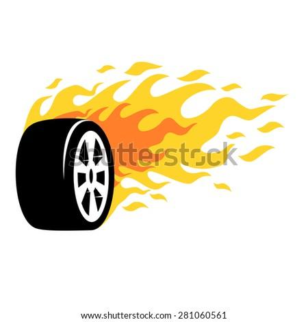 Burning wheel icons vector. - stock vector