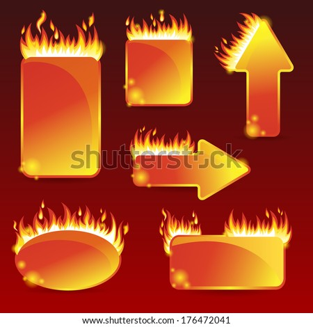 Burning with fire design sale stickers and tags for text and discounts - stock vector