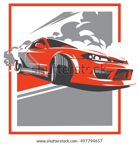Burnout Car Japanese Drift Sport Car Stock Vector