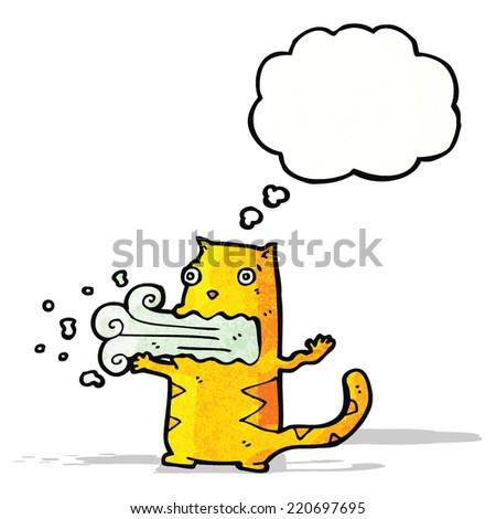 burping cat cartoon - stock vector