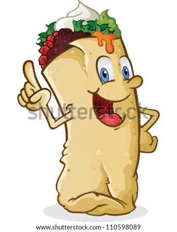 Burrito Cartoon Character - stock vector