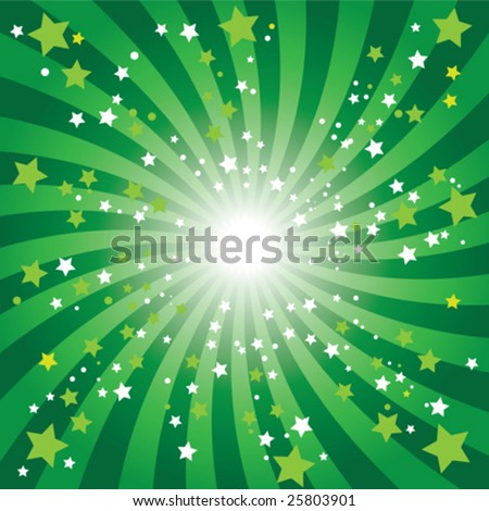 Bursting Abstract green star background - stock vector