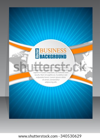 Bursting brochure design with orange wave and world map in background - stock vector