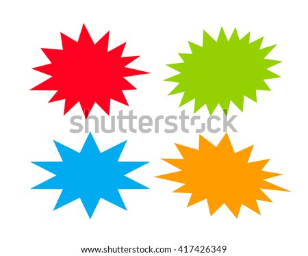 Bursting speech star set, vector illustration isolated on white background - stock vector