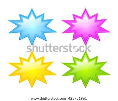 Bursting star icon set vector illustration isolated on white background - stock vector