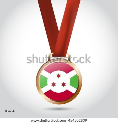 Burundi Flag in Bronze Medal. Olympic Game Bronze Medal. Vector Illustration - stock vector