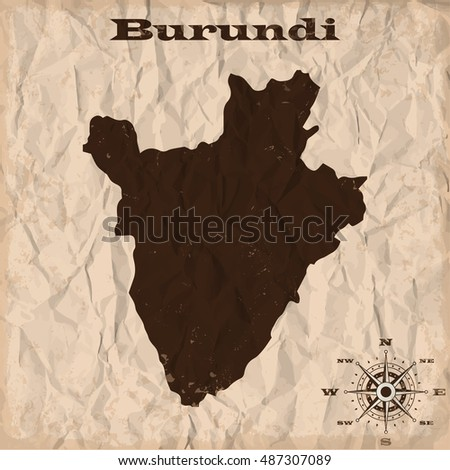 Burundi old map with grunge and crumpled paper. Vector illustration