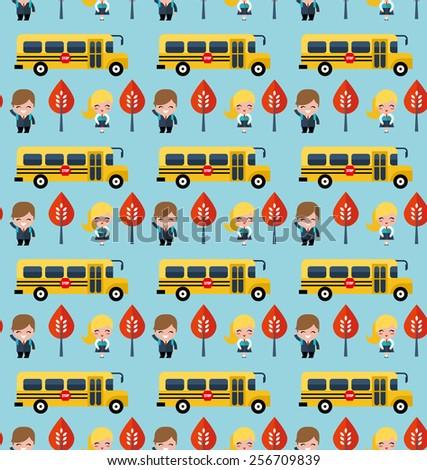 bus and school children pattern - stock vector