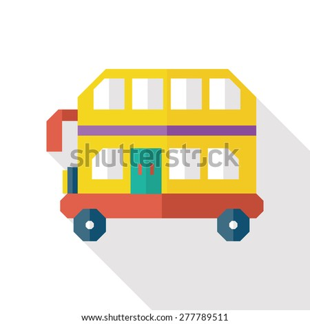 Bus flat icon with long shadow