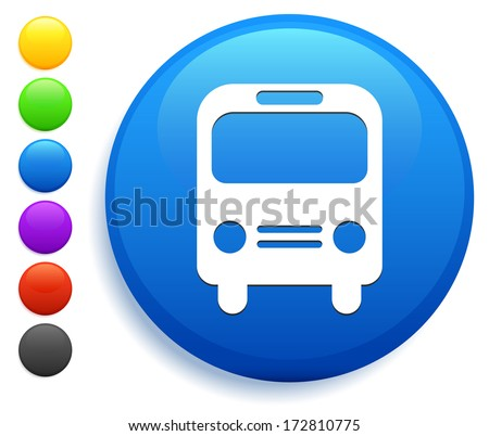 Bus Icon on Round Button Collection - stock vector