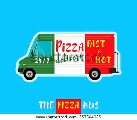 Bus icon. Pizza bus isolated. Food delivery truck. Delivery van. Commercial service vehicle. Side view. Vector illustration