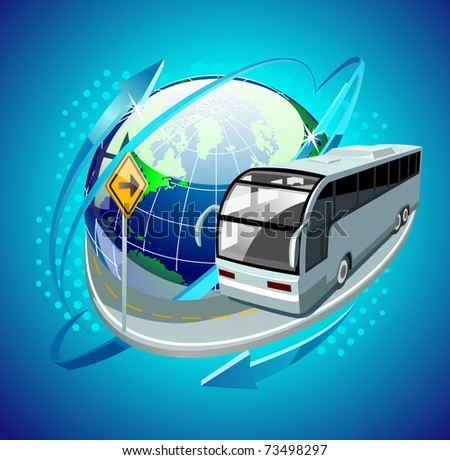 bus in front of the globe - stock vector