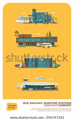 Bus, maritime, railway stations and airport. Daylight version - stock vector