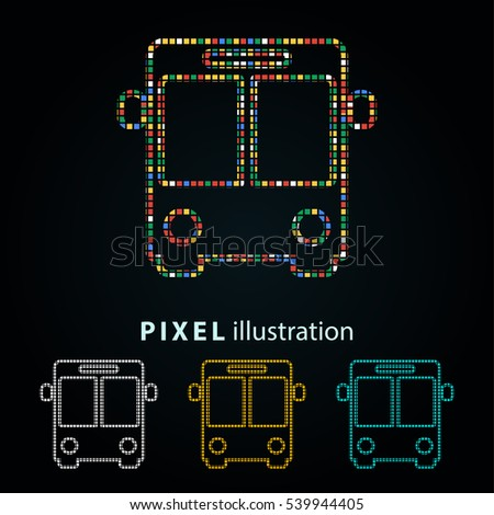 Bus - pixel icon. Vector Illustration. Design logo element. Isolated on black background.